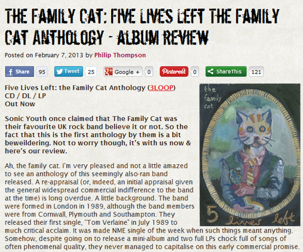 Read the Loder Than War review of the Family Cat's Five Lives Left